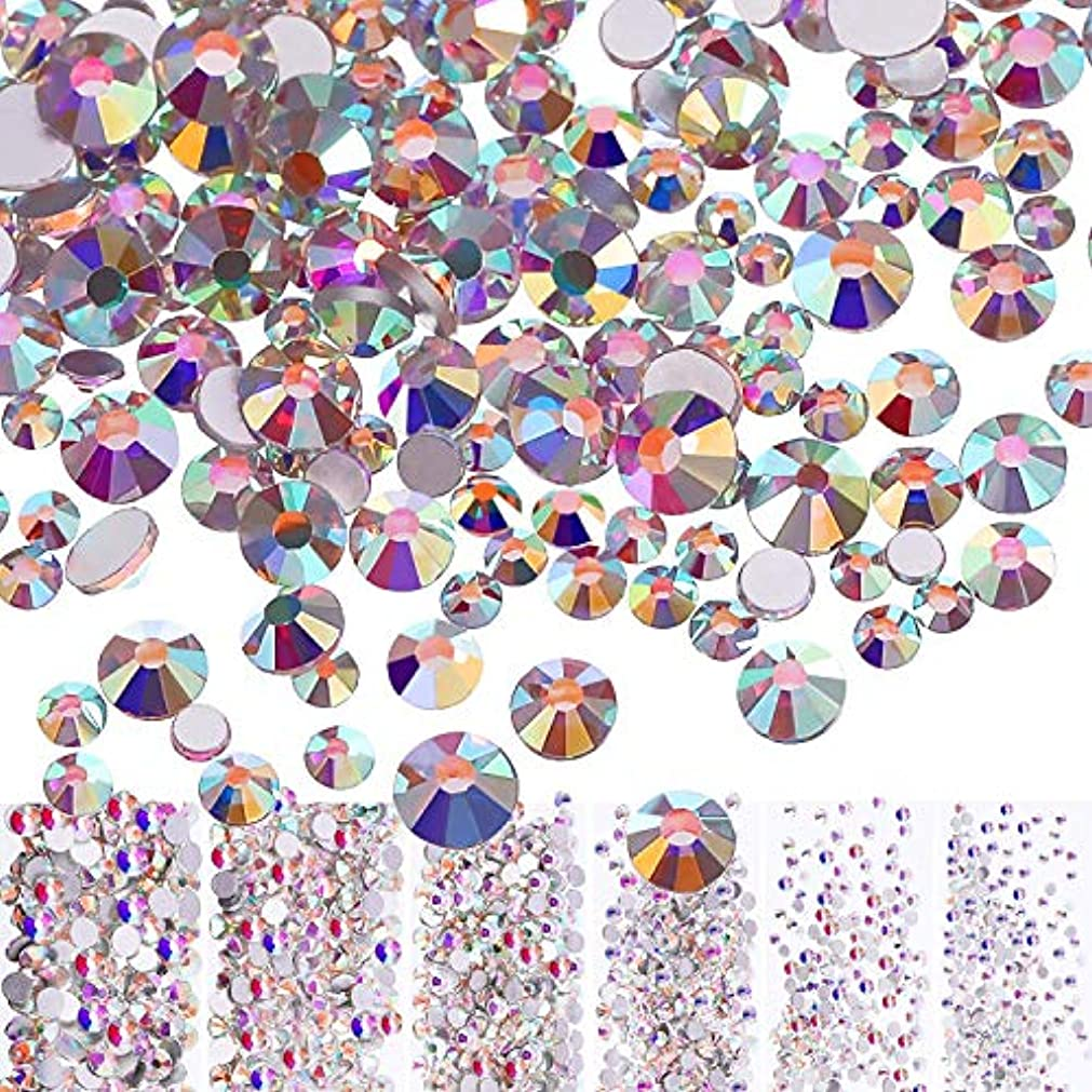 導入する意味する禁止するMojoe 3456個ネイルクリスタルAbネイルアートラインストーンラウンドバックガラスチャーム宝石石、6サイズネイル用装飾化粧服靴(、混合Ss4 5 6 8 10 12)(クリスタルAb)