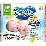MamyPoko Extra Dry Skin Organic Tape Diapers, S, 66ct