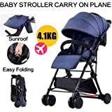 Baby Safe City Tour Stroller Carriage Pram Compact Lightweight Foldable Toddler Strollers Carrier Travel Umbrella Jogger (Blu