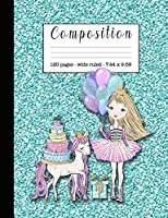 Composition: Wide ruled education composition notebook for students and teachers at school, college or home  - Turquoise glitter effect cover with princess and unicorn horse