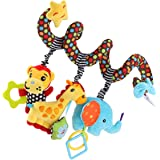 TOYANDONA Car Seat Toys, Baby Activity Spiral Plush Stroller bar Toy Accessories, Crib Toys for boy or Girl, Hangings Rattle