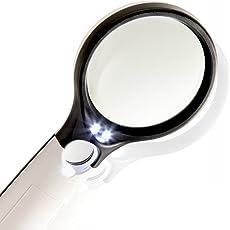 Phoenix 虫眼鏡 拡大鏡 手持ちルーペ LEDライト付 3倍&45倍 2種類レンズ 超軽量 ジャンボルーペ いつも携帯 ネイル・アクセサリー・読書・新聞・読書・地図・設計図・プラモデル