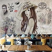Lcymt カスタム写真の壁紙現代のファッションハンド塗装美容理髪店ツーリング背景壁の装飾絵画3D-120X104Cm