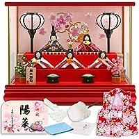 雛人形 リュウコドウ ちりめん ふっくら ひな人形 ケース飾り 五人飾り 丸金柱 キャンディーレッド ラインストーン 2.雪輪桜 カラー h293-rkcp-ca29-3-1-5