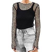 Balai Women Sheer Mesh Crop Top Fishnet T Shirt Long Sleeve See-Through Blouse Party Clubwear