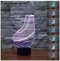 3dスポーツアイスホッケースケートブーツNightライトタッチテーブルデスクOptical Illusionランプ7色変更ライトホーム装飾クリスマス誕生日ギフト