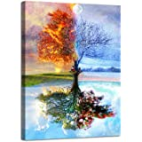 AGCary Four Season Tree of Life Poster with Framed Print Canvas Painting Picture Wall Art for Home Decorations Wall Decor 12