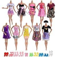 Asiv きれい バービー 服 10枚ドレスセット ロングスカート スカート 10足の靴 バービー 人形用 可愛い プリンセスドレス ランダム スタイル