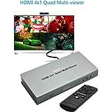 XOLORspace TW02 1080p HDMI 4x1クアッドマルチビューアー、マルチビューワー リモコンx1 HDMI画面分割切替器 5モード表示シ HDMI分割 表示 HDMI 拡大 multiviewer Quad viewer単一画面のシームレスな切り替え