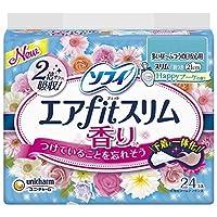 ソフィ エアfitスリム 香り Happyブーケの香り 多い昼-ふつうの日安心用 21cm 羽つき 24枚 ≪おまとめセット【6個】≫