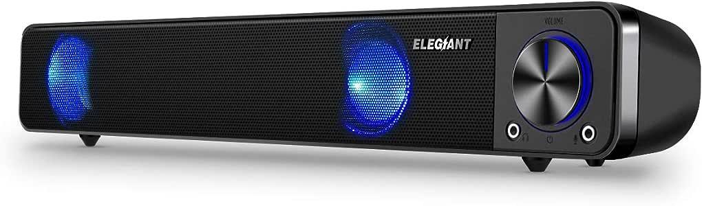 PCスピーカー ELEGIANT 高音質 大音量 小型 重低音 ホームシアター ステレオ サウンドバー スマホ/パソコン/タブレット/テレビ対応 USB Speaker