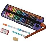 色鉛筆 水性書芯 水筆/消しゴム/鉛筆削り/鉛筆延長ホルダー/矯正グリップ付き 48色セット