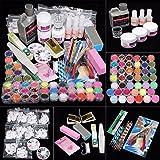 Lookatool 42 Acrylic Nail Art Tips Powder Liquid Brush Glitter Clipper Primer File Set Kit