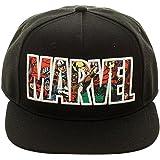 Black Marvel Comics Logo Snapback Cap