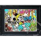 アートショップ フォームス ディズニー×ブランドオマージュアート/スターデザイン「ミッキー×ルイ・ヴィトン」A4ポスター 展示用フック付