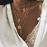 Fstrend Holy Necklace Religious Virgin Mary Cross Rose Charms Pendant Long Necklace Jewelry for Women and Girls