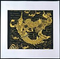 タイ民族絵画 布絵 綿黒地 コットン金柄絵画