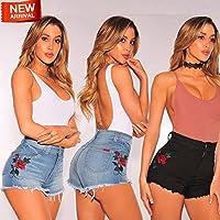 New Womens Floral Denim Short Jeans Ladies Hot Pants Shorts Trouser UK Size 8-18 Blue 10