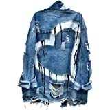 Nite closet Ripped Denim Jacket for Women Punk Rock Cutout Loose Fashion Heart Long Sleeve