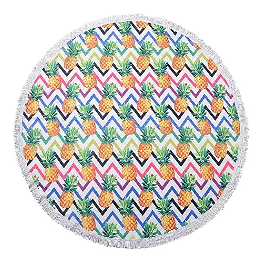 刺繍学校規制Mkトレーディング ラウンドタオル(登録商標)パイナップル柄