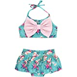 RuffleButts Baby/Toddler Girls Cropped Peplum Tankini 2 Piece Swimsuit w/Ruffles
