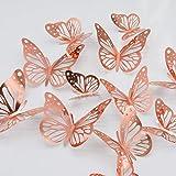 paperbgspen 3D Butterfly Wall Stickers, 48PCS Rose Gold Butterfly Wall Decals Decorations Stickers with 4 Patterns Butterflie