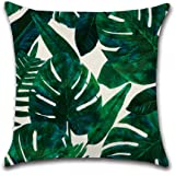 NEW6 16 Designs Pack of 2 Tropical Plant Birds Green Leaves Flower Printed Throw Pillow Cases Cotton Linen Cushion Cover 18x1