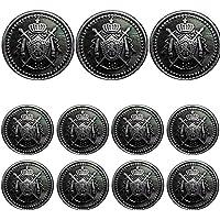 洋服倉庫 高級メタルボタン 11個セット 前ボタン用 フロント用 20mmサイズ 銀ボタン 3個 袖ボタン用  15mmサイズ 銀ボタン 8個