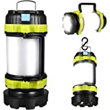 LED Camping Lantern, Rechargeable Portable Lantern Flashlight, 6 Modes, 3600mAh Power Bank, Two Way Hook of Hanging, Perfect