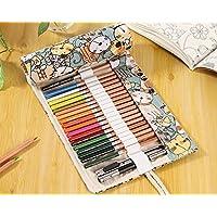 かわいい おしゃれ ネコさん 猫 巻き巻き ロールペンケース 布製 ペンシルポーチ 筆箱 筆入れ 色鉛筆入れ 大容量 布製 (72本用)