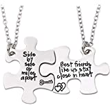 Lcbulu 2PCS Best Friends Necklaces for 2 - Side by Side Or Miles Apart BFF Friendship Matching Puzzle Necklace Set Long Dista