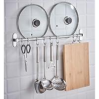 キッチンツールフック 壁掛けフック 強力固定 6フック ステンレススチール クローム キッチン収納ラック バスルーム シ…