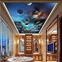 Xbwy 天井壁画現代の3D宇宙惑星写真の壁紙リビングルームのテーマホテル天井の装飾壁装材3 D-150X120Cm