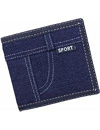 Everdoss メンズ 財布 デニム 短い財布 二つ折り カード入れ 小銭入れ スポーツ 軽い薄い 個性 シンプル