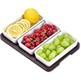 Creamic Snack Serving Tray 3 Pieces Long Strip Ceramic Bowls and A Brown Trays, Movable Moisture-Proof Food Bowls, Can Dress