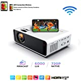 SOTEFE® Mini LED Projector Portable 6000 Lumens-WiFi Video Projectors 1080P Full HD For iPhone Samsung Smartphone Wireless Pr