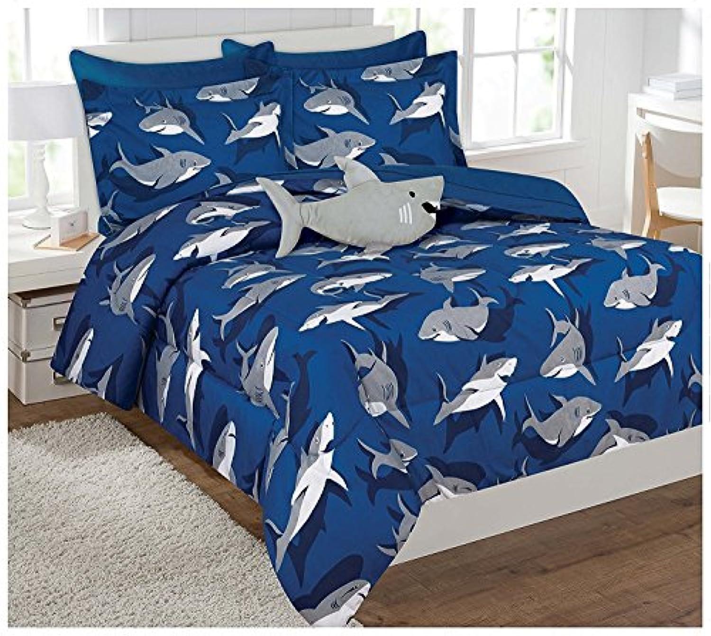 [ファンシーリネン]Fancy Linen Fancy Collection Kids' Shark FullSize Bedinabag Comforter Set of 8, Blue/Grey B01DRA5QKI [並行輸入品]