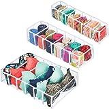 mDesign Rectangular Plastic Dresser Drawer Divider and Closet Storage Organizers for Lingerie, Bras, Socks, Underwear, Tights