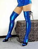光沢 メタリック 編み上げ ロングタイツ 青色 (M04LA) 特大サイズ
