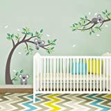 decalmile Koala and Tree Branch Wall Decals Dragonflies Koala Bear Kids Wall Stickers Baby Nursery Childrens Bedroom Wall Dec