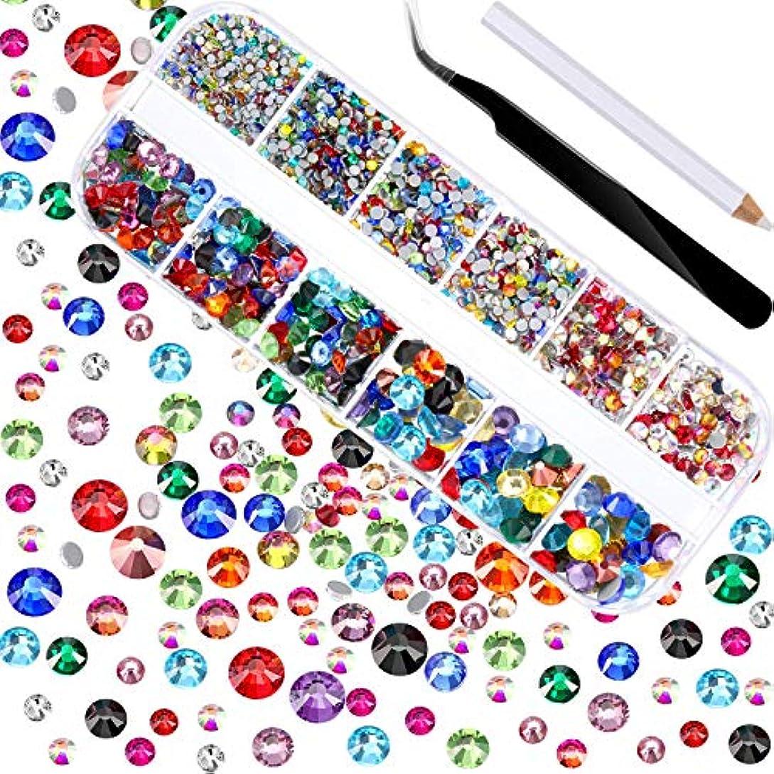 統合署名水銀のネイル デコパーツ カラーラインストーン 大容量セット 3D ネイルアート セルフネイル レジン ネイル ピンセット付き