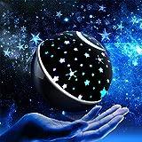 GrowthPic 【2019年最新版】スタープロジェクター 星空ライト ベッドサイドランプ ライト 家庭用 プラネタリウム 雰囲気を作り 海洋投影 多色変更 360度回転 祭り クリスマスプレゼント 誕生日ギフト (ブラック)