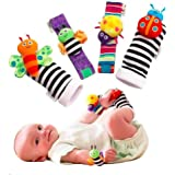 Baby Rattle Wrist Rattle Foot Finder Socks Set, Cute Animal Soft Cotton and Plush Stuffed Newborn Infant Toddler Toys-Shower