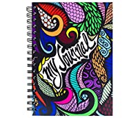 """Colorit 9x 6"""" My Journal with Bold Colors–100Lightly Linedシート、ダブルスパイラルノートブック、Hardcover Journal with Hand Drawnデザイン、完璧なクリエイティブWriting仕訳レディース&ガールズ"""