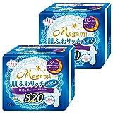 【まとめ買い】エリス Megami 肌ふわリッチ超スリム320 (特に多い日の夜用) 羽つき 13枚入×2個パック