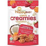 Happy Baby Organic Creamies Freeze-Dried Veggie & Fruit Snacks with Coconut Milk Strawberry Raspberry & Carrot, 1 Ounce Bag (