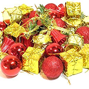 オシャレ かわいい クリスマス ツリー リース 用 オーナメント 飾り レッド ゴールド 32個 セット ボール ベル ドラム プレゼント メリークリスマス ロゴ (b.レッド 32個セット)