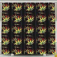 ラスタ雑草の葉 シャワーカーテン 防水 防カビ 加工 浴室 カーテン 風呂カーテン 防水 間仕切り 遮像 リング付属 厚手 取り付け簡単 150 * 180cm