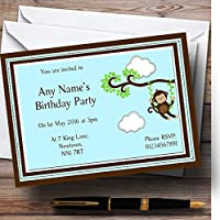 Cheeky MonkeyブラウンPersonalized誕生日子供のパーティー招待状 20 Invitations
