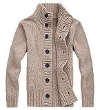 (オユオマ) oyuoma 暖か カジュアル 前開き ボタン ニット セーター カーディガン ジャケット メンズ (02.L, ベージュ)